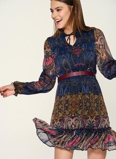 Loves You Şal Desen Şifon Elbise Lacivert